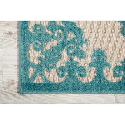 Farley Blue/Cream Indoor/Outdoor Area Rug Rug Size: Rectangle 710 x 106