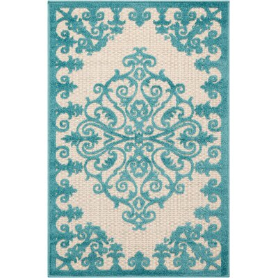 Farley Blue/Cream Indoor/Outdoor Area Rug Rug Size: Rectangle 28 x 4