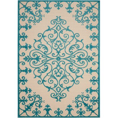 Farley Blue/Cream Indoor/Outdoor Area Rug Rug Size: Rectangle 53 x 75