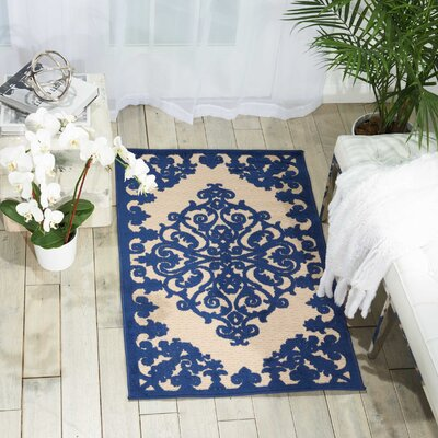 Farley Navy Indoor/Outdoor Area Rug Rug Size: Rectangle 28 x 4