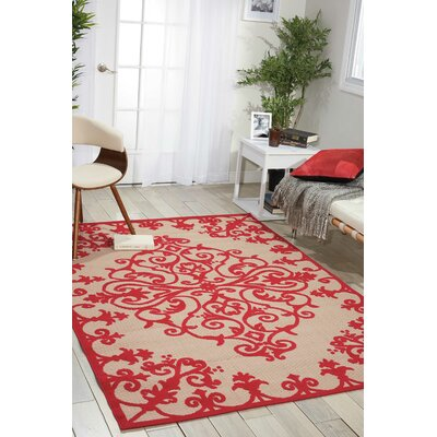 Farley Red Indoor/Outdoor Area Rug Rug Size: Rectangle 53 x 75