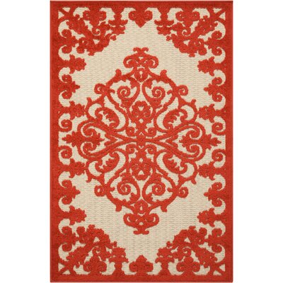 Farley Red Indoor/Outdoor Area Rug Rug Size: Rectangle 28 x 4