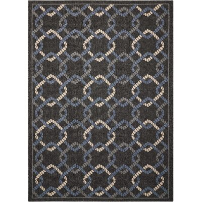 Kittrell Charcoal/Blue/Gray Indoor/Outdoor Area Rug Rug Size: Rectangle 53 x 75