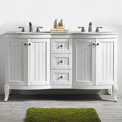 Saint 60 Double Vanity Set Base Finish: White