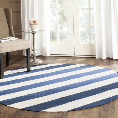 Brookvale Hand-Woven Cotton Navy/Ivory Area Rug Rug Size: Round 6