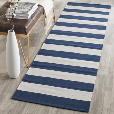 Brookvale Hand-Woven Cotton Navy/Ivory Area Rug Rug Size: Runner 23 x 117