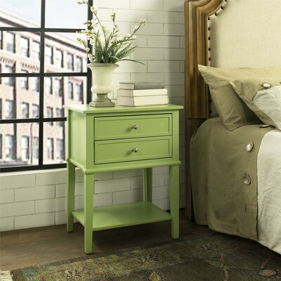 Winfield End Table With Storage Color: Green