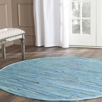 Inkom Hand-Woven Cotton Blue Area Rug Rug Size: Round 6