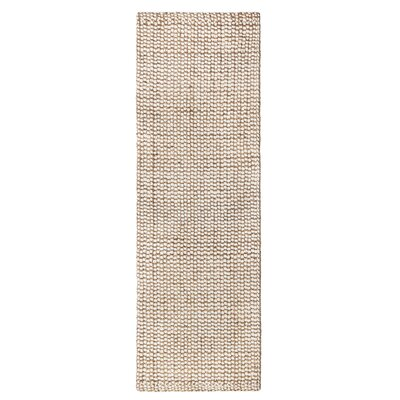 Graywell Hand-Woven Tan/Ivory Area Rug Rug Size: Runner 26 x 8