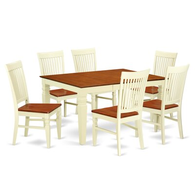 Pennington 7 Piece Wood Dining Set Color: Buttermilk/Cherry
