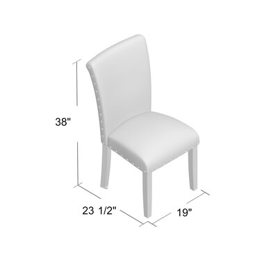 Strongylos Classic Parsons Chair Color: Mid-tone Walnut, Upholstery: Cream
