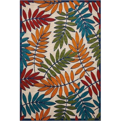 Farley Beige/Green Indoor/Outdoor Area Rug Rug Size: Rectangle 53 x 75