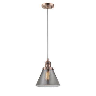 Pachna Glass Cone 1-Light Pendant Finish: Antique Copper, Shade Color: Smoked, Size: 10 H x 8 W