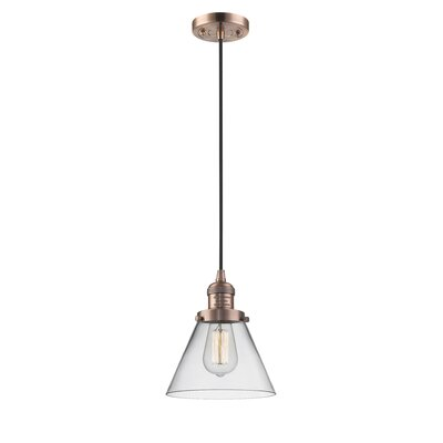 Pachna Glass Cone 1-Light Pendant Finish: Antique Copper, Shade Color: Clear, Size: 10 H x 8 W