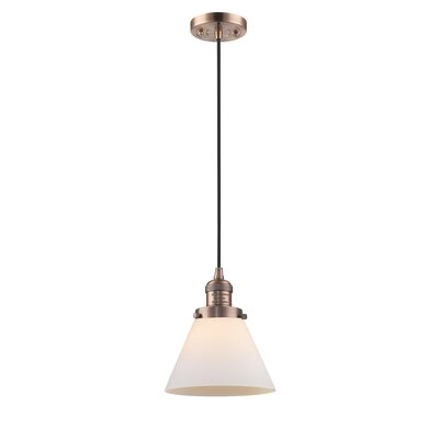 Pachna Glass Cone 1-Light Pendant Color: Antique Copper, Shade Color: Matte White Cased, Size: 10 H x 8 W