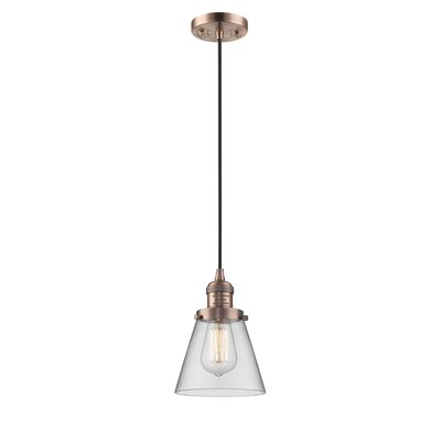 Pachna Glass Cone 1-Light Pendant Color: Antique Copper, Shade Color: Clear, Size: 8.25 H x 6.25 W