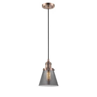 Pachna Glass Cone 1-Light Pendant Finish: Antique Copper, Shade Color: Smoked, Size: 8.25 H x 6.25 W