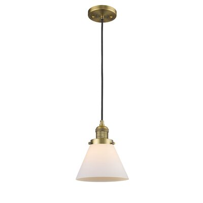 Pachna Glass Cone 1-Light Pendant Color: Brushed Brass, Shade Color: Matte White Cased, Size: 10 H x 8 W