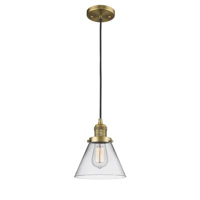 Pachna Glass Cone 1-Light Pendant Color: Brushed Brass, Shade Color: Clear, Size: 10 H x 8 W