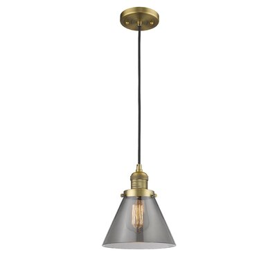 Pachna Glass Cone 1-Light Pendant Color: Brushed Brass, Shade Color: Smoked, Size: 10 H x 8 W