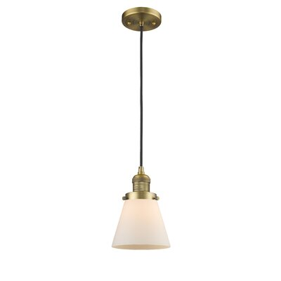 Pachna Glass Cone 1-Light Pendant Finish: Brushed Brass, Shade Color: Matte White Cased, Size: 8.25 H x 6.25 W