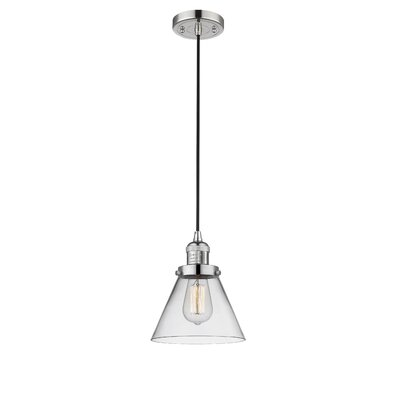Pachna Glass Cone 1-Light Pendant Finish: Polished Nickel, Shade Color: Clear, Size: 10 H x 8 W