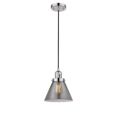 Pachna Glass Cone 1-Light Pendant Finish: Polished Nickel, Shade Color: Smoked, Size: 10 H x 8 W