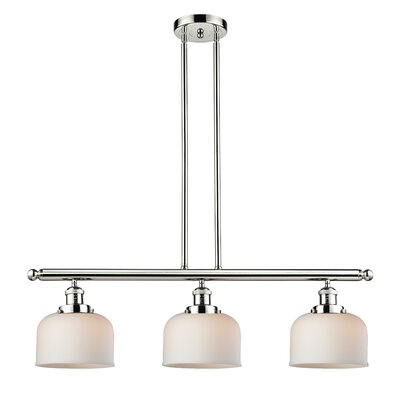 Peristeronari Glass Bell 3-Light Island Pendant Finish: Polished Nickel, Shade Color: Matte White Cased