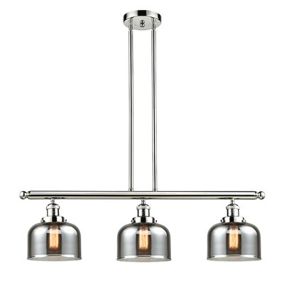 Beringer 3-Light Kitchen Island Pendant Color: Polished Nickel, Shade Color: Smoked