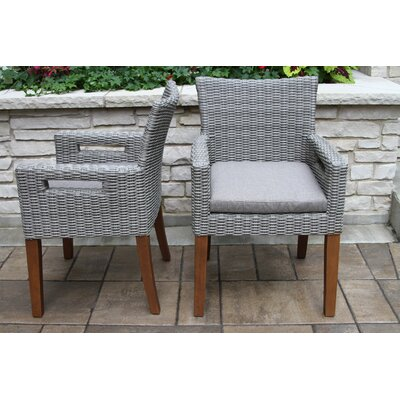 Roseland Grey Wicker Eucalyptus Arm Chair Olefin Cushion Pk 473 Item Image