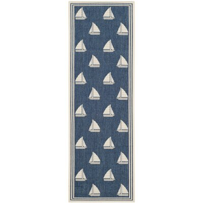 Bosworth Navy/Beige Indoor/Outdoor Area Rug Rug Size: Runner 23 x 67