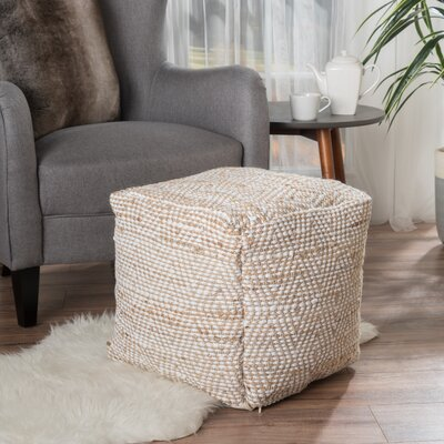 Federalsburg Pouf Ottoman Upholstery: Ivory