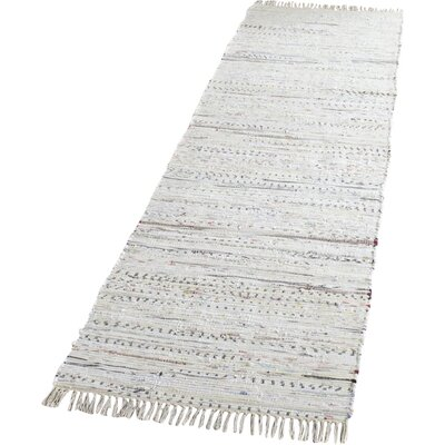 Penrock Way Handwoven Cotton White Area Rug Rug Size: Runner 23 x 9