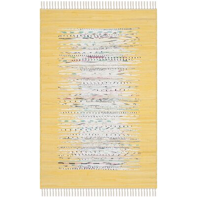 Ona Hand-Woven Cotton Ivory/Yellow Area Rug Rug Size: Rectangle 26 x 4