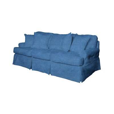 Coral Gables T-Cushion Sofa Slipcover Size: 37.8 H x 88 W x 38.2 D, Upholstery: Indigo Blue