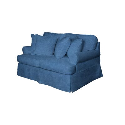 Coral Gables T-Cushion Loveseat Slipcover Set Upholstery: Indigo Blue