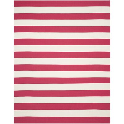 Brookvale Hand-Woven Cotton Pink/White Area Rug Rug Size: Rectangle 8 x 10