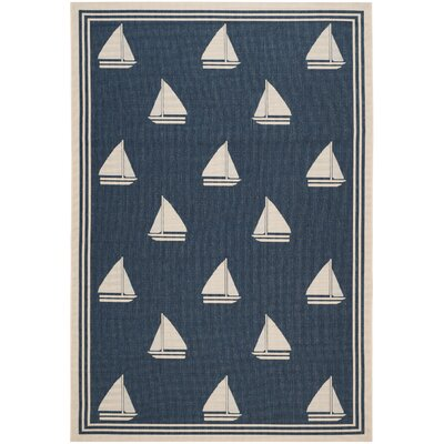 Bosworth Navy/Beige Indoor/Outdoor Area Rug Rug Size: Rectangle 67 x 96