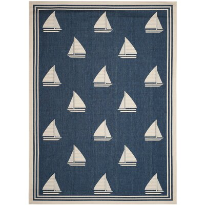 Bosworth Navy/Beige Indoor/Outdoor Area Rug Rug Size: Rectangle 8 x 11