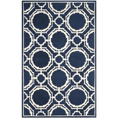 Moraine Hand-Tufted Dark Blue/Ivory Area Rug Rug Size: Rectangle 6 x 9