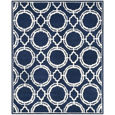 Moraine Hand-Tufted Dark Blue/Ivory Area Rug Rug Size: Rectangle 8 x 10