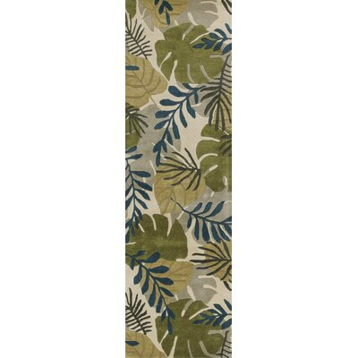 Imala Hand-Tufted Leaves Ivory Wool Area Rug Rug Size: Runner 23 x 8