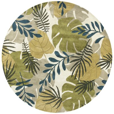 Imala Hand-Tufted Leaves Ivory Wool Area Rug Rug Size: Round 76