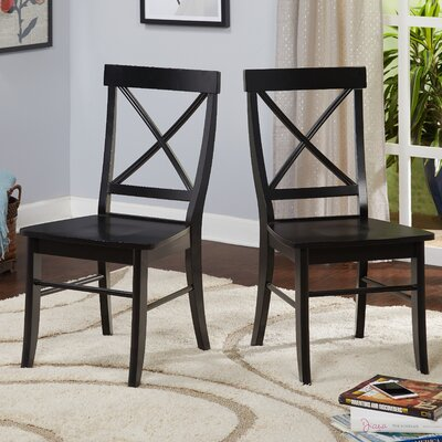 Brookwood Solid Wood Side Chair Color: Black