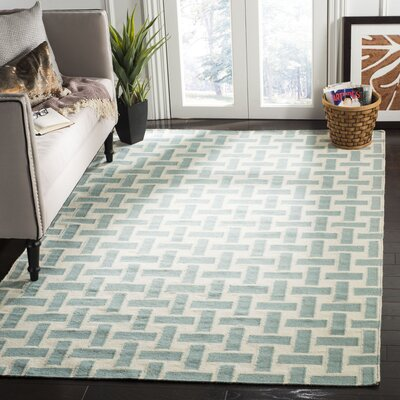 Masaryktown Hand-Woven Wool Turquoise/Ivory Area Rug Rug Size: Rectangle 5 x 8