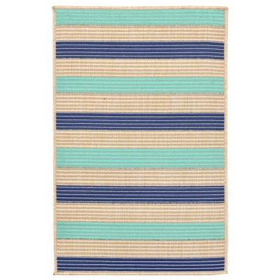 Larana Stripe Beige/Blue Synthetic Indoor/Outdoor Area Rug Rug Size: Rectangle 111 x 211