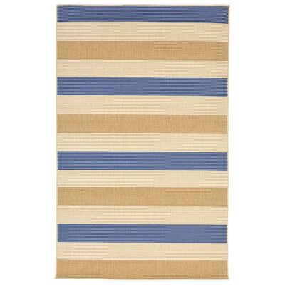 Larana Stripe Beige/Blue Indoor/Outdoor Area Rug Rug Size: Rectangle 410 x 76