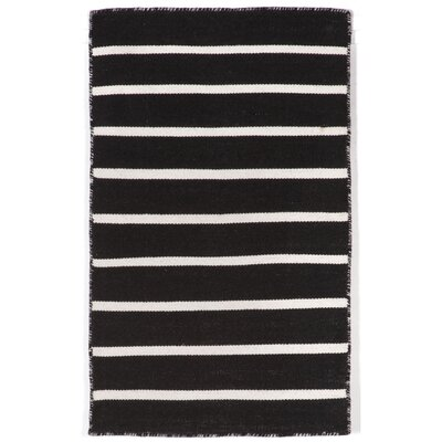 Ranier Pinstripe Hand-Woven Black Indoor/Outdoor Area Rug Rug Size: Rectangle 2 x 3