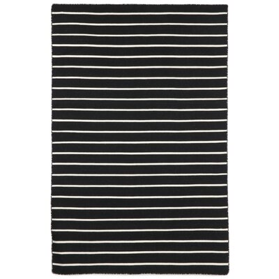 Ranier Pinstripe Hand-Woven Black Indoor/Outdoor Area Rug Rug Size: Rectangle 36 x 56