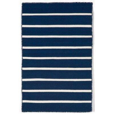 Ranier Pinstripe Hand-Woven Navy Indoor/Outdoor Area Rug Rug Size: Rectangle 2 x 3